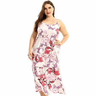 Urban Affair Women's Spaghetti Strap Maxi Slip Dress Plus Size Loose Sandy Beach Seaside Wear with Pocket (Cactus 3X)