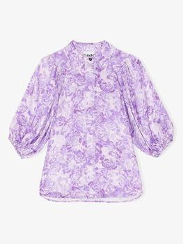 Ganni Heavy Satin Shirt Violet Tulip - 36