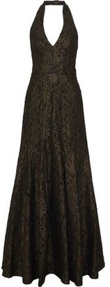 Halston Fluted Metallic Lace Halterneck Gown