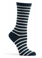 Ozone Navy Classic Stripe Crew Socks