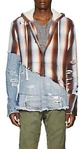 Greg Lauren Men's Striped Cotton Baja Hoodie-Beige, Tan