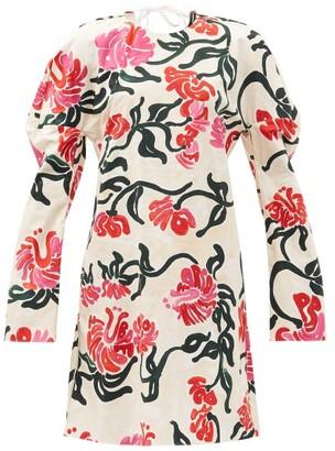 Marni - Curved-sleeve Tropical-print Cotton-poplin Dress - Ivory Multi