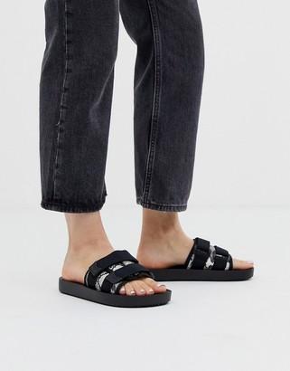 Bershka snake print flat sandals with strap detailing in multi