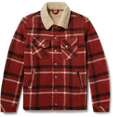 Nudie Jeans Lenny Faux Shearling-lined Checked Wool-blend Jacket - Red