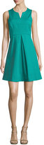 Halston Sleeveless Split-Neck Party Dress, Clover