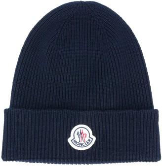 Moncler Ribbed Knit Logo Patch Hat