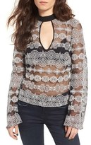Band of Gypsies Sheer Embroidered Mesh Top