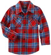 Osh Kosh Boys 4-7x Two-Pocket Plaid Button-Down Shirt