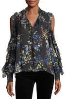 9327e49fe40e85 Parker Elana Floral-Print Cold-Shoulder Silk Blouse