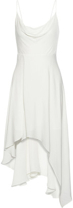 Alice + Olivia Alita Asymmetric Draped Crepe De Chine Slip Dress