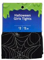 F&F Glitter Cobweb Halloween Tights, Girl's