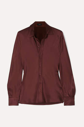 Joseph George Silk-satin Shirt - Brown