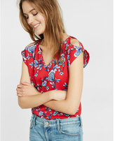 Express Floral Print V-neck Cold Shoulder Rolled Sleeve Blouse