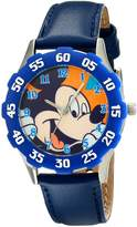 Disney Kids' W001972 Mickey Mouse Analog Watch With Leather Band