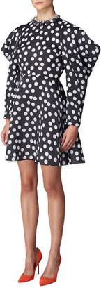Carolina Herrera Polka Dot Puff-Sleeve Mini Dress