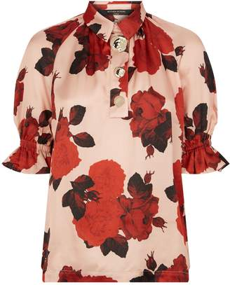 Mother of Pearl Satin Button Blouse
