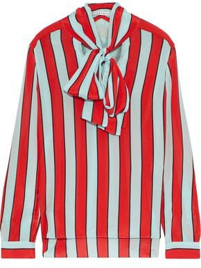 Alice + Olivia Berta Pussy-bow Striped Silk Crepe De Chine Blouse