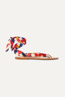 Eres Mosaic Nupie Suede-trimmed Printed Silk-twill Sandals - Red