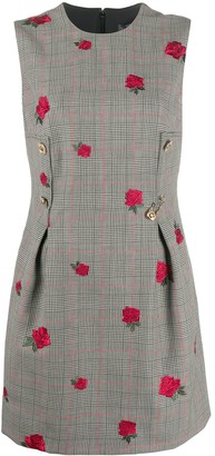 Versace Prince of Wales rose-jacquard dress