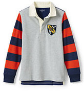 Classic Little Boys Novelty Stripe Rugby-Gray Heather