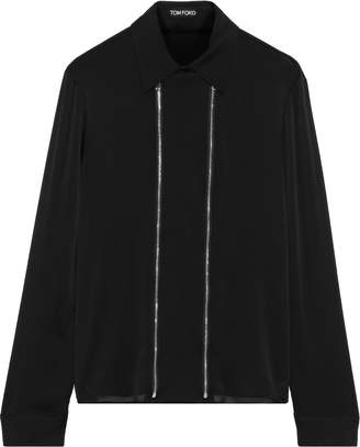 Tom Ford Zip-detailed Silk Crepe De Chine Shirt