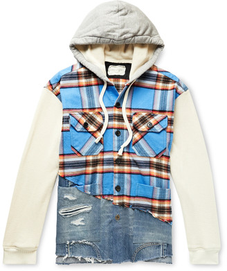 Greg Lauren Panelled Cotton-Blend Waffle-Knit, Flannel And Denim Jacket