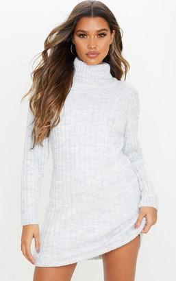 Mega Light Grey Chunky Knitted Jumper Dress