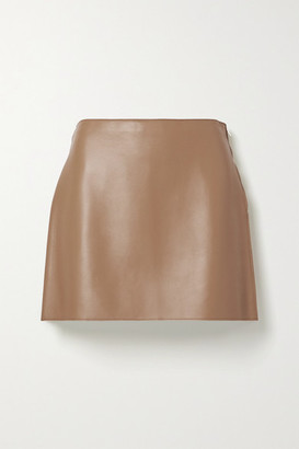 Theory Leather Mini Skirt - Tan