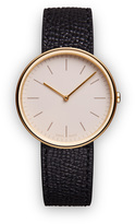 Uniform Wares M35 Women's two-hand watch in PVD satin gold with black textured calf leather strap
