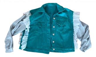 Non Signã© / Unsigned Manche ballon Green Denim - Jeans Jackets