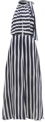 ODYSSEE Beau Striped Chiffon Maxi Dress - Navy