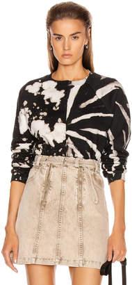 Proenza Schouler White Label Long Sleeve Cropped Tie Dye Sweatshirt in White & Black | FWRD
