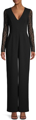 BCBGMAXAZRIA Lace Long-Sleeve Jumpsuit