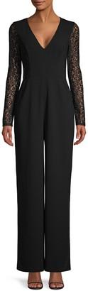 BCBGMAXAZRIA Lace Long-Sleeve Jumpsuit