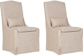 One Kings Lane Set of 2 Lambert Side Chairs - Bisque Linen