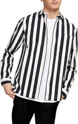 Topman Mikey Slim Fit Stripe Button-Up Shirt