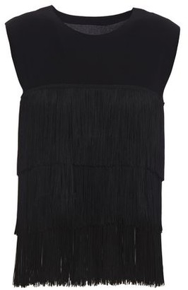 Norma Kamali Fringed Stretch-jersey Top