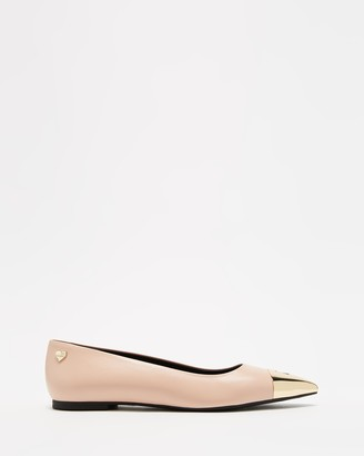 Love Moschino Women's Nude Ballet Flats - Toe Cap Ballerina Flats - Size 38 at The Iconic