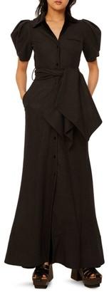Rosie Assoulin Peter Pan Puff-Sleeve Wool Maxi Dress