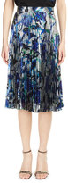 Christopher Kane Pleated Floral Lamé; Skirt, Black