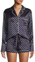 Olivia Von Halle Alba Don Dot-Print Silk Shorty Pajama Set