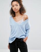 Subtle Luxury Cashmere Essential V-Neck Sweater In Blue