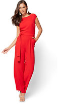 New York & Co. Red Belted Jumpsuit