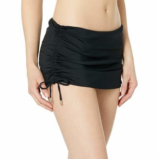 Calvin Klein Women's Solid Side Shirred Skirted Bikini Bottom