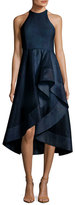 Halston High-Neck Sleeveless Cocktail Dress w/ Flounce Skirt