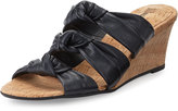 Neiman Marcus Marcela Knotted Leather Wedge Sandal, Navy