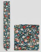 Asos Floral Tie And Pocket Square Set