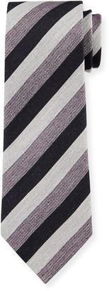 Ermenegildo Zegna Men's Heathered Stripe Linen-Silk Tie, Purple