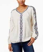 Style&Co. Style & Co Petite Cotton Embroidered Peasant Top, Only At Macy's