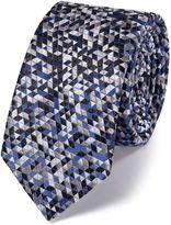 Charles Tyrwhitt Slim Grey Silk Triangle Luxury Tie Size OSFA